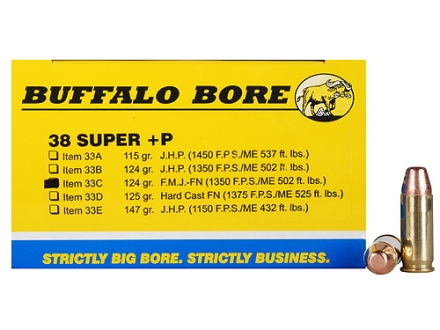 Buffalo Bore Ammunition 38 Super +P 124 Grain Full Metal Jacket Box of 20