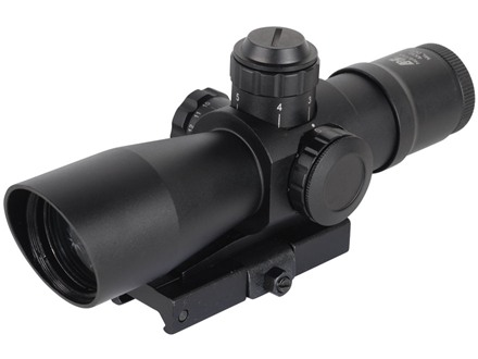 NcStar Mark 3 Compact Tactical Rifle Scope 4x 32mm Blue or Green Illuminated Mil-Dot Reticle Matte with Integral Quick Release Weaver-Style Base