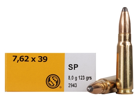 Sellier & Bellot Ammunition 7.62x39mm 123 Grain Bi-Metal Semi-Jacketed Soft Point Box of 20