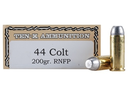 Ten-X Cowboy Ammunition 44 Colt 200 Grain Lead Round Nose Flat Point Box of 50