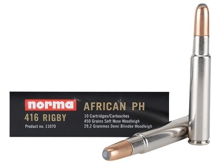 Norma African PH Ammunition 416 Rigby 450 Grain Woodleigh Weldcore Soft Nose Box of 10