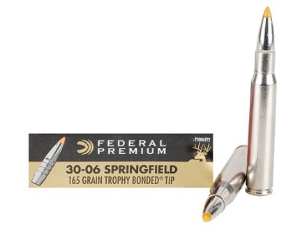 Federal Premium Ammunition 30-06 Springfield 165 Grain Trophy Bonded Tip Box of 20