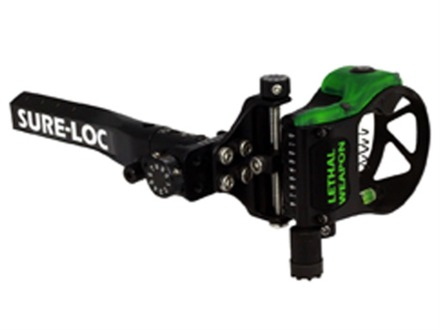 """Sure-Loc Lethal Weapon with Retina Lock Bow Sight .019"""" Pin Diameter Right Hand Aluminum Black"""