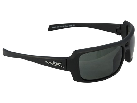 Wiley X Black Ops WX Static Polarized Shooting Safety Glasses Matte Black Frame Smoke Green Lens