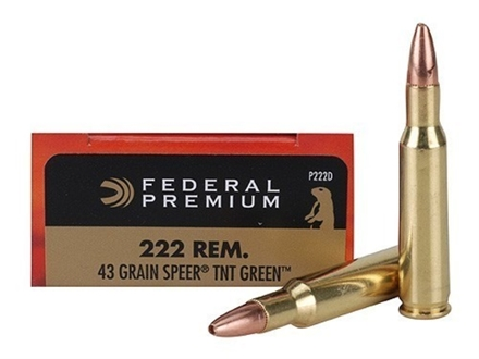 Federal Premium Ammunition 222 Remington 43 Grain Speer TNT Green Hollow Point Lead-Free Box of 20