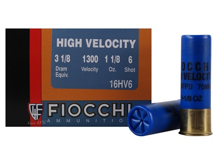 "Fiocchi Hi Velocity Ammunition 16 Gauge 2-3/4"" 1-1/8 oz #6 Chilled Lead Shot Box of 25"