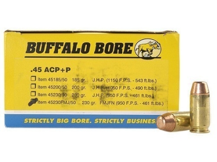 Buffalo Bore Ammunition 45 ACP +P 230 Grain Full Metal Jacket