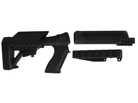 Archangel 870SC Tactical Shotgun Stock System Remington 870 with Receiver Mount Shell Carrier - Black Polymer