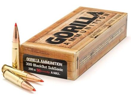 Gorilla Ammunition 300 AAC Blackout 208 Grain Hornady A-Max Subsonic