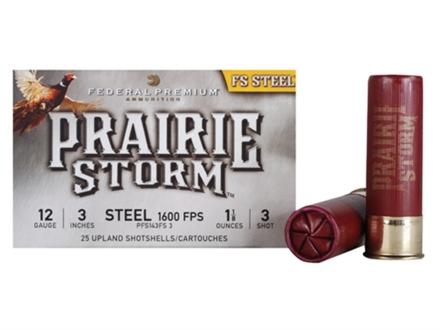 "Federal Premium Prairie Storm Ammunition 12 Gauge 3"" 1-1/8 oz #3 Steel Shot Shot Box of 25"