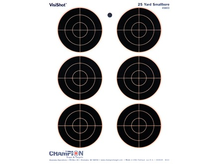 "Champion VisiShot 3"" Bullseyes Target 8.5"" x 11"" Paper Package of 10"