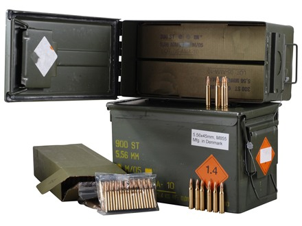 Surplus Ammunition 5.56x45mm NATO 62 Grain SS109 M855 Penetrator Full Metal Jacket 10 Round Clips in Sealed Battle Packs in Ammo Can 900 Rounds (3 Packs of 300)
