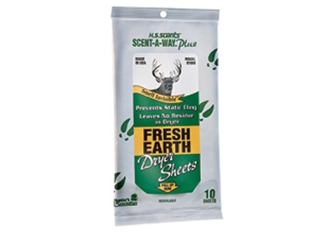 Hunter's Specialties Scent-A-Way Scent Eliminator Dryer Sheets Fresh Earth Pack of 10