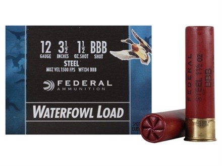 "Federal Speed-Shok Waterfowl Ammunition 12 Gauge 3-1/2"" 1-1/2 oz BBB Non-Toxic Steel Shot"