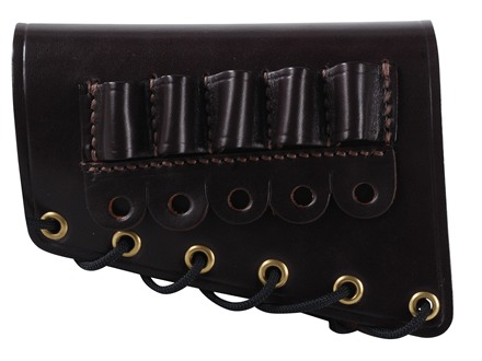 Galco Rifle Cheek Rest Left Hand with 308 Winchester/30-30 Winchester Rifle Ammunition Carrier 5-Round Leather Dark Havana