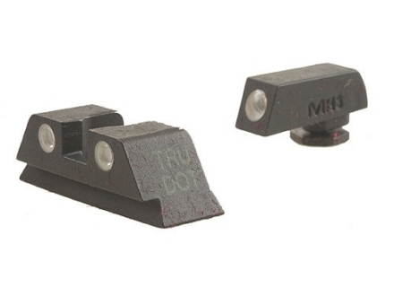 Meprolight Tru-Dot Sight Set Glock 17, 19, 22, 23, 32, 34, 35 Steel Blue Tritium Green Front Yellow Rear