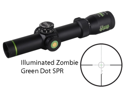 Leupold VX-R Zombie Rifle Scope 30mm Tube 1.25-4x 20mm Illuminated Zombie Green Dot SPR Reticle Matte