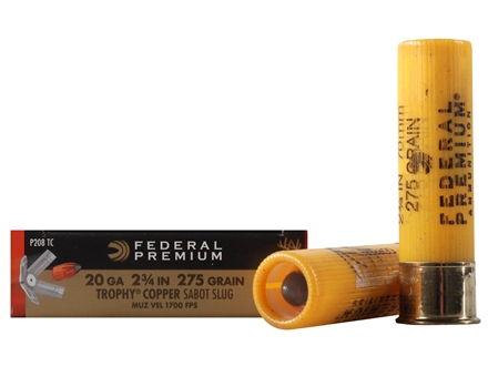 "Federal Premium Vital-Shok Ammunition 20 Gauge 2-3/4"" 275 Grain Trophy Copper Tipped Sabot Slug Lead-Free Box of 5"