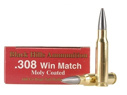 Black Hills Ammunition 308 Winchester 168 Grain Match Hollow Point Boat Tail Moly Box of 20