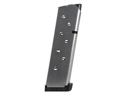 Nighthawk Custom Magazine with Extended Base Pad 1911 Government, Commander 45 ACP 8-Round Stainless Steel