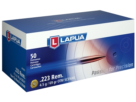 Lapua Scenar Ammunition 223 Remington 69 Grain Hollow Point Boat Tail Box of 50