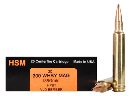 HSM Trophy Gold Ammunition 300 Weatherby Magnum 185 Grain Berger Hunting VLD Hollow Point Boat Tail Box of 20