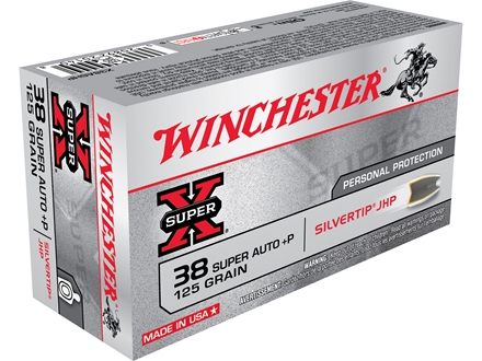 Winchester Super-X Ammunition 38 Super +P 125 Grain Silvertip Hollow Point