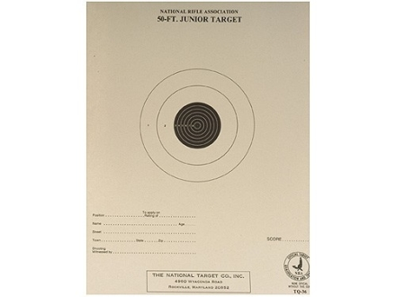 NRA Official Smallbore Rifle Training Target TQ-36 50' Junior Rifle Paper Package of 100