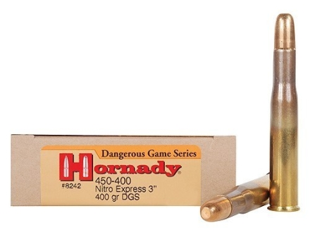"Hornady Dangerous Game Ammunition 450-400 Nitro Express 3"" (410 Diameter) 400 Grain DGS Round Nose Solid Box of 20"