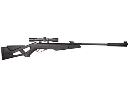 Gamo Whisper Silent Cat Air Rifle 177 Caliber Black Synthetic Stock Blue Barrel with Gamo Airgun Scope 4x 32mm Matte