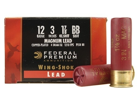 "Federal Premium Wing-Shok Ammunition 12 Gauge 3"" 1-7/8 oz Buffered BB Copper Plated Shot Box of 25"