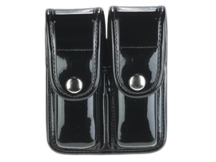 Bianchi 7902 AccuMold Elite Double Magazine Pouch Single Stack 9mm, 45 ACP Chrome Snap Trilaminate High-Gloss Black