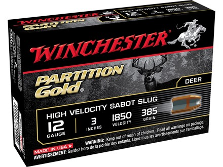 "Winchester Ammunition 12 Gauge 3"" 385 Grain Partition Gold Sabot Slug Box of 5"