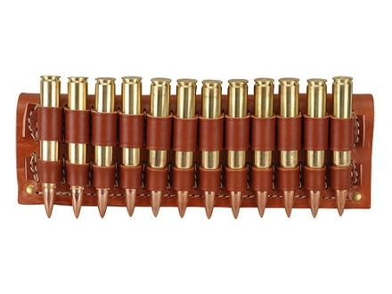Hunter Cartridge Belt Slide Rifle Ammunition Carrier 30-06 Springfield Base 12-Round Leather Brown