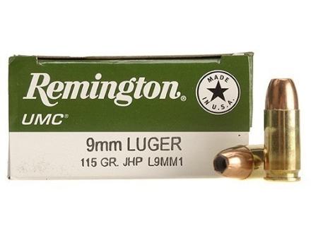 Remington UMC Ammunition 9mm Luger 115 Grain Jacketed Hollow Point