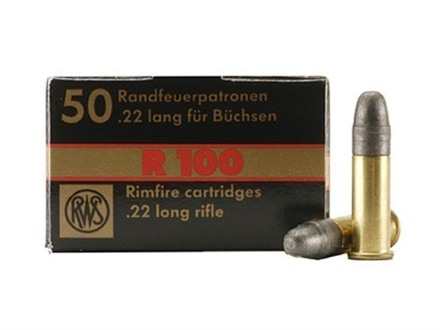 RWS R-100 Ammunition 22 Long Rifle 40 Grain Lead Round Nose Box of 500 (10 Boxes of 50)