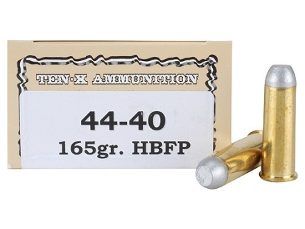 Ten-X Cowboy Ammunition 44-40 WCF 165 Grain Lead Hollow Base Flat Point Box of 50