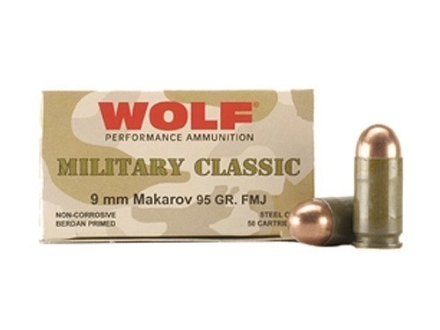 Wolf Military Classic Ammunition 9x18mm (9mm Makarov) 95 Grain Full Metal Jacket (Bi-Metal) Steel Case Berdan Primed