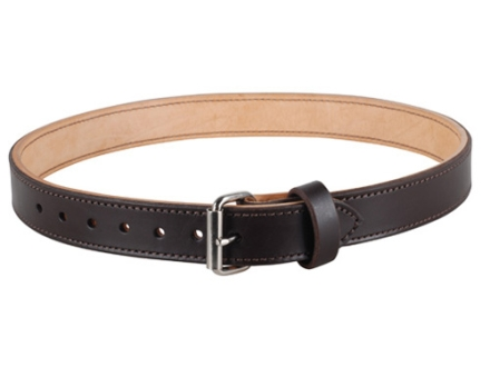 """Lenwood Leather Double Layer Belt 1-3/4"""" Steel Buckle Leather Brown 32"""""""