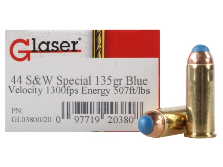 Glaser Blue Safety Slug Ammunition 44 Special 135 Grain Safety Slug Package of 20