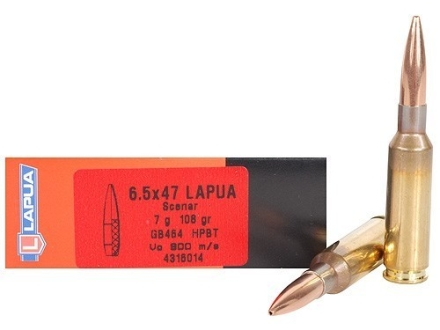 Lapua Scenar Ammunition 6.5x47 Lapua 108 Grain Hollow Point Boat Tail Box of 20