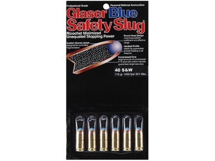 Glaser Blue Safety Slug Ammunition 40 S&W 115 Grain Safety Slug