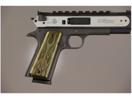 Hogue Extreme Series Grips 1911 Government, Commander Ambidextrous Safety Cut Flames Aluminum Green