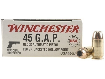 Winchester USA Ammunition 45 GAP 230 Grain Jacketed Hollow Point