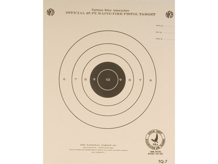 NRA Official Pistol Target TQ-7 25' Timed and Rapid Fire Paper Package of 100