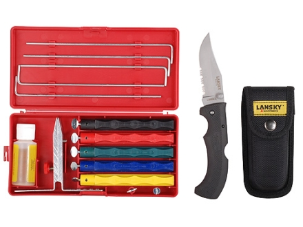 """Lansky Deluxe Knife Sharpening System with Easy Grip Folding Hunting Knife 3-5/8"""" 420 Stainless Steel Serrated Drop Point Blade Rubber Handle Black"""