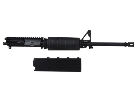 "Olympic Arms AR-15 A3 Flat-Top Upper Assembly 9mm Luger 1 in 16"" Twist 16"" Barrel Stainless Steel Black with M4 Handguard, Flash Hider, 32-Round Magazine Pre-Ban"