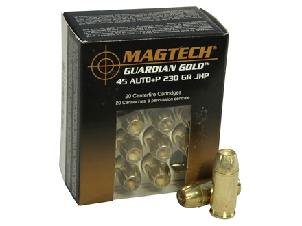 Magtech Guardian Gold Ammunition 45 ACP +P 230 Grain Jacketed Hollow Point Box of 20