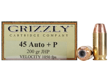 Grizzly Ammunition 45 ACP +P 200 Grain Hollow Point Box of 20