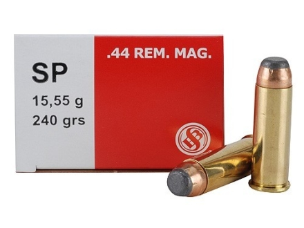 Sellier & Bellot Ammunition 44 Remington Magnum 240 Grain Jacketed Soft Point Box of 50